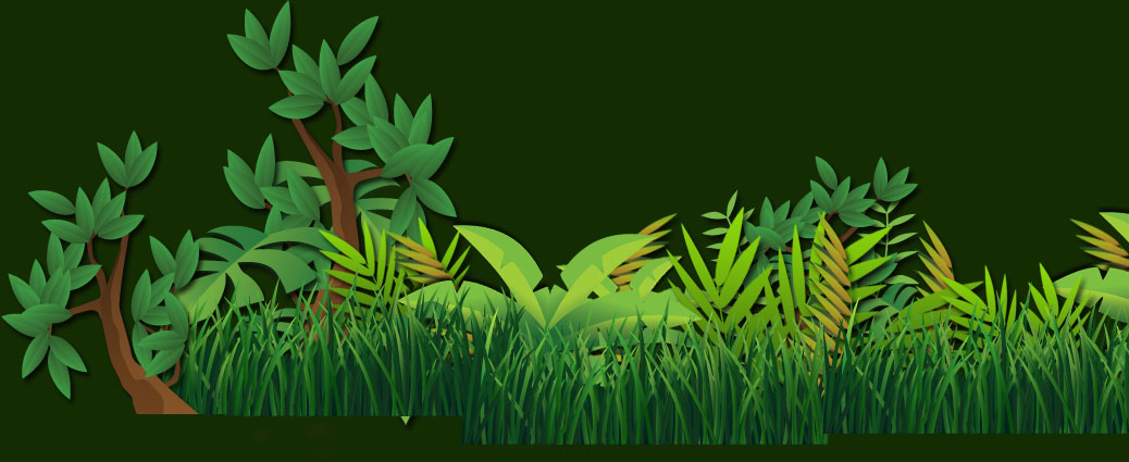 Party Animals forest grass and leaves